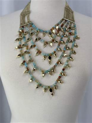 Multi Strand Green and Pink Mulit-Stone Necklace
