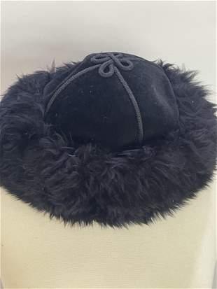 Vintage Black Velvet and Suede and Fur Hat