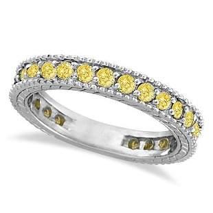 Fancy Yellow Canary Diamond Eternity Ring Band 14