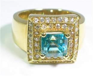 ALGT .65 CT Cambodian Blue Zircon & Dia Ring