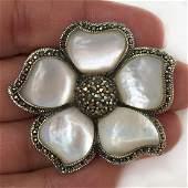 Sterling silver MOP marcasites Flower brooch pendant