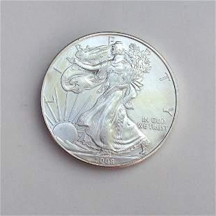 2008 US silver Eagle Liberty One dollar bullion coin
