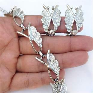 SARAH COV Vintage silver tone necklace ear clips set