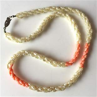 Pink coral color and faux pearl twisted strand necklace