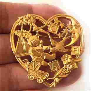 Vintage gold tone Heart shape Baby Nursery theme brooch