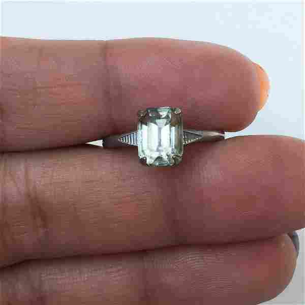 Vintage silver tone emerald cut crystal solitare ring