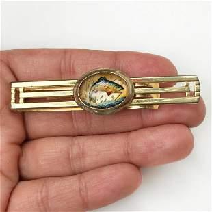 ANSON Vintage gold tone 3D fish trout tie bar, signed