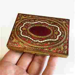 Vintage gold tone red white enamel make up mirror box