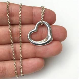 TIFFANY & CO Sterling silver open heart pendant chain