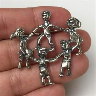 Sterling silver Children Holding Hands brooch