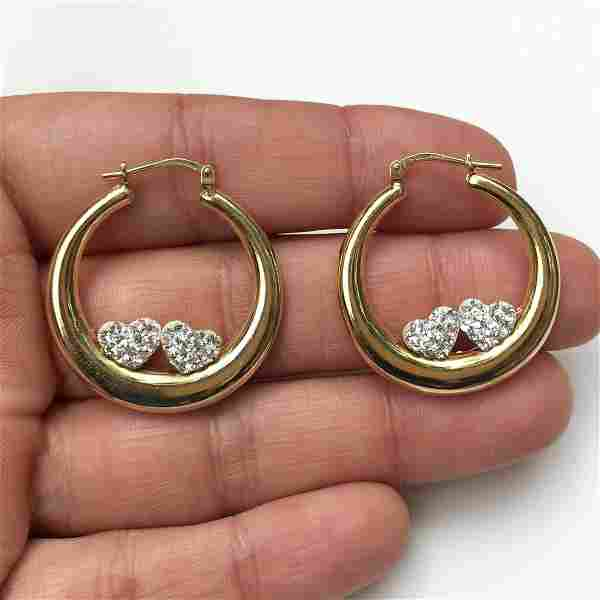 Gold plated sterling silver crystals heart earrings