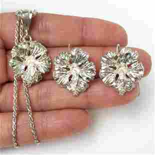Sterling silver Hibiscus Flower pendant earrings set