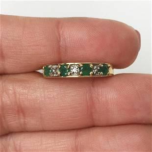 10 KT yellow gold emerald diamond band ring