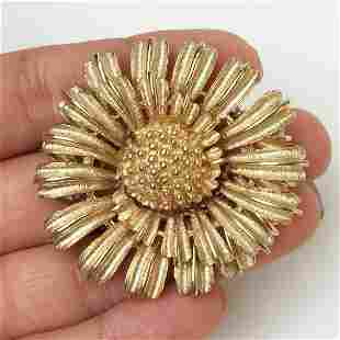 CORO Vintage gold tone textured finish Flower brooch