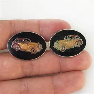 AVON Silver tone enamel Antique Car oval cufflinks