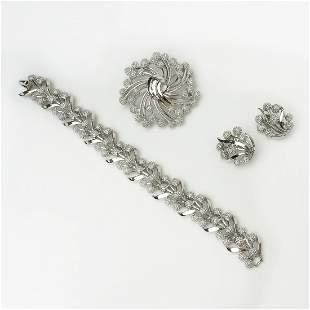 TRIFARI Silver tone textured bracelet brooch ear clips