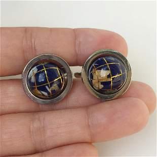 Silver tone genuine stone spinning Globe cufflinks