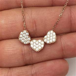 Rose gold plated sterling silver CZ heart necklace