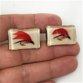 Vintage gold tone real red Fishing Fly Lure cufflinks