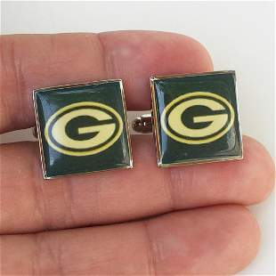 Silver tone NFL Greenbay Packers Football cufflinks