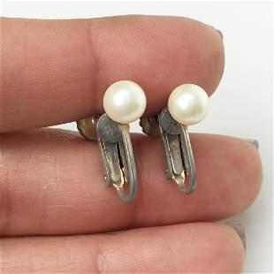 Vintage silver tone white faux pearl screw ear clips