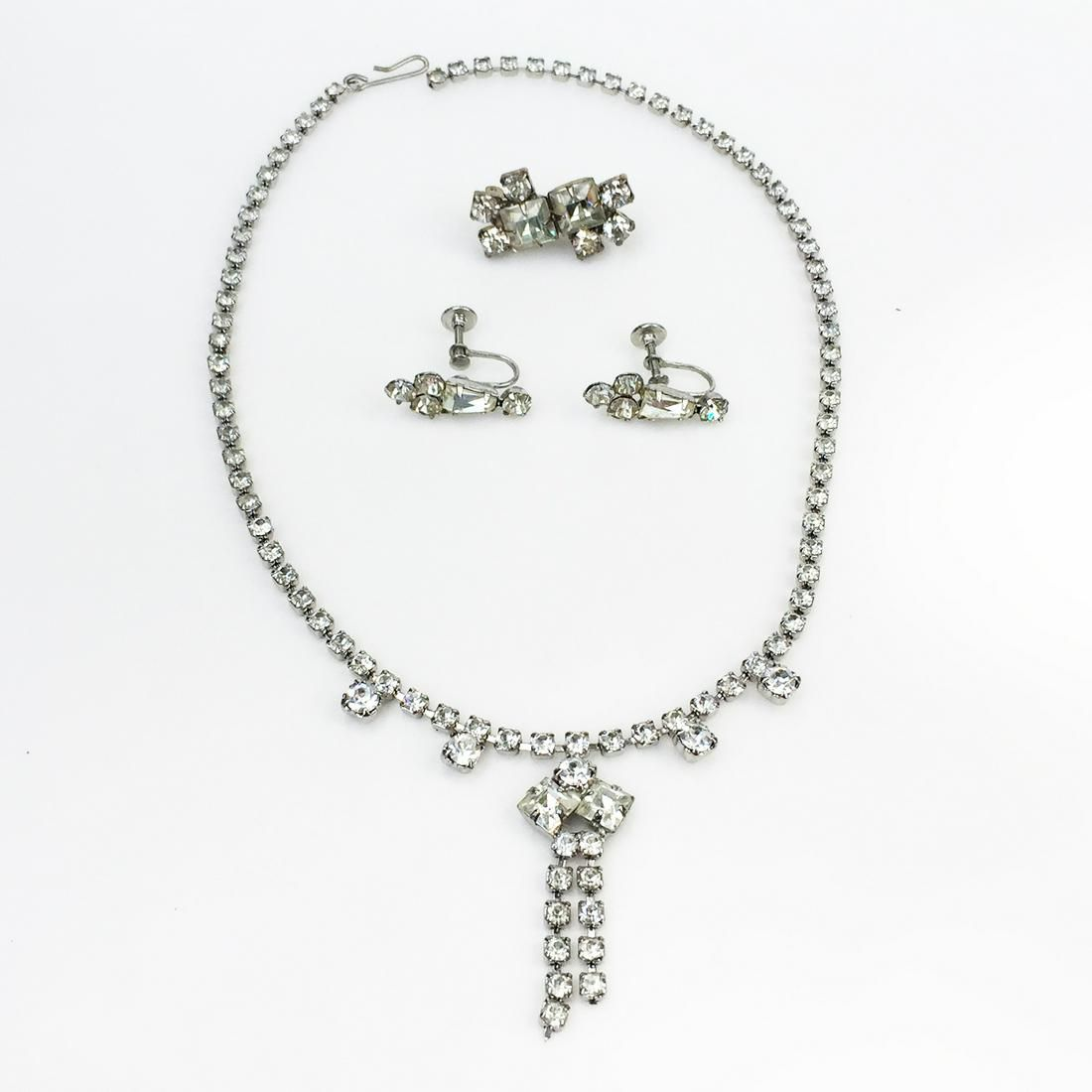 Vintage silver tone crystal ear clips, necklace, brooch