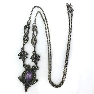 Vintage sterling silver amethyst pendant necklace