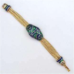 Vintage gold tone blue green enamel chain bracelet