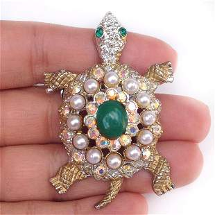 Vintage two tone Turtle crystals faux pearl brooch