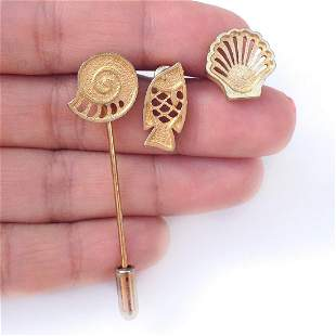 Vintage gold tone Interchangeable Shell Fish pin brooch