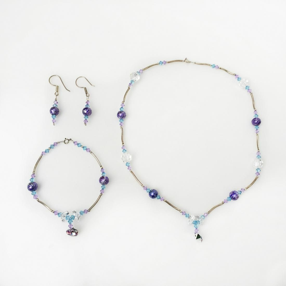 Crystals, sterling silver earrings necklace bracelet