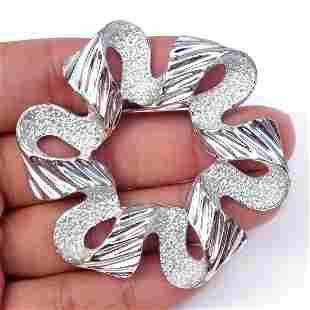 SARAH COV Vintage silver tone textured Ribbon brooch