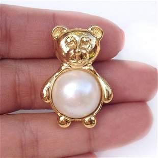 MARVELLA Vintage gold tone Teddy Bear faux pearl brooch