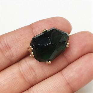 Gold tone green tourmaline color crystal brooch