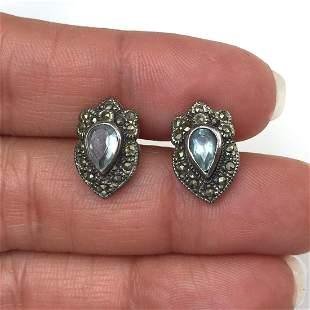 Sterling silver blue Topaz marcasites earrings