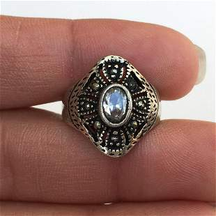 Sterling silver oval clear crystal marcasites ring