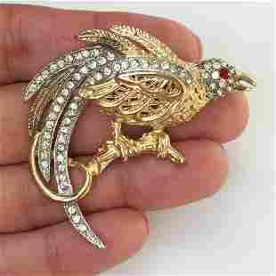 CAPRI Vintage two tone crystals Pheasant Bird brooch