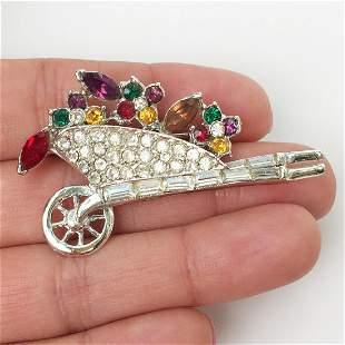 Silver tone multicolor crystals Wheelbarrow brooch