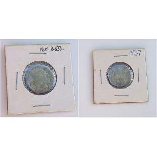 1937 and no date US Indian Head 5 cent coins