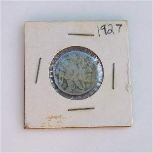 1927 US Indian Head 5 cent coin