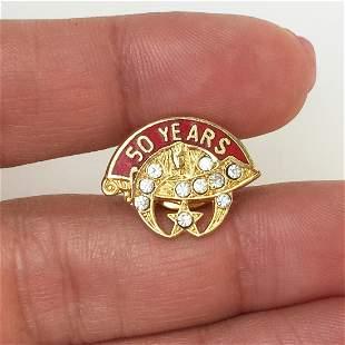 Vintage 50 years schimitar horn crystals enamel pin