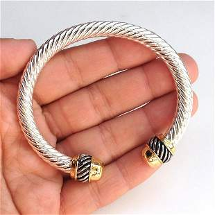 Two tone David Yurman Style twisted cable cuff bracelet