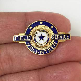 Vintage Field Service Volunteer blue enamel pin brooch