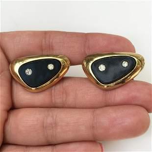SARAH COV Vintage gold tone crystals triangle cufflinks