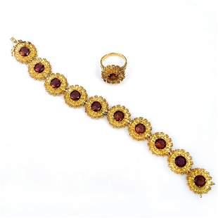 Gold tone prong set crystals Flower bracelet ring set