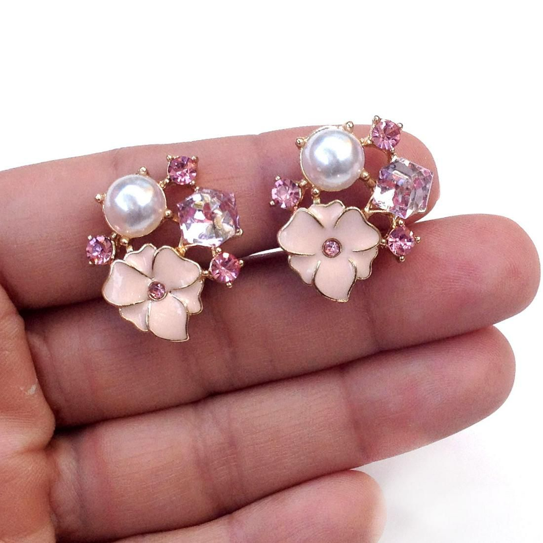 Gold tone crystals rose enamel faux pearl ear clips