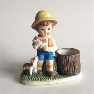 Vintage CMA ceramic Boy puppy dog candle holder