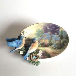 """A Loving Retreat"" 3D plate blue birds"