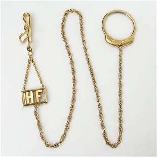 SWANK Vintage gold tone pocket watch chain HF Initial
