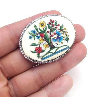 Silver tone hand painted Flower Tree brooch signed DM